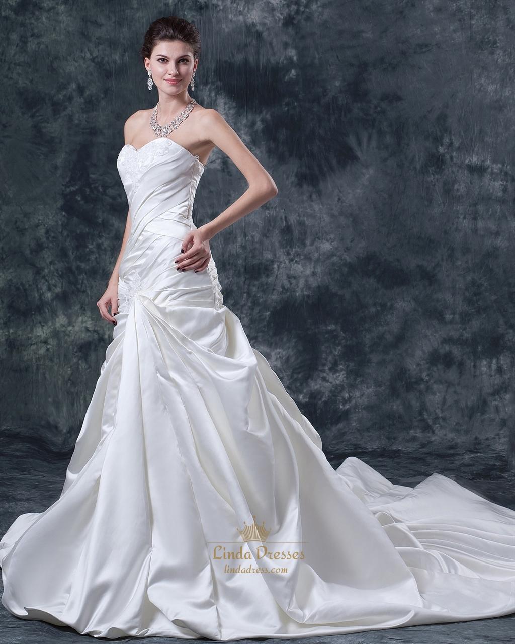 Mermaid Train: Ivory Strapless Mermaid Sweep Train Wedding Dresses With