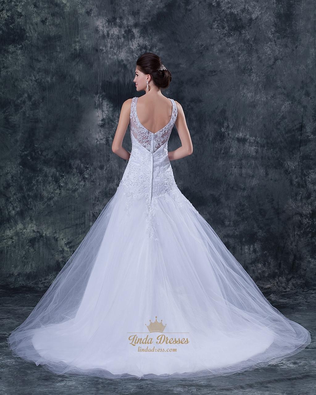 Wedding Dress Illusion Back: White Straps A-Line V-Neck Tulle Wedding Dress With