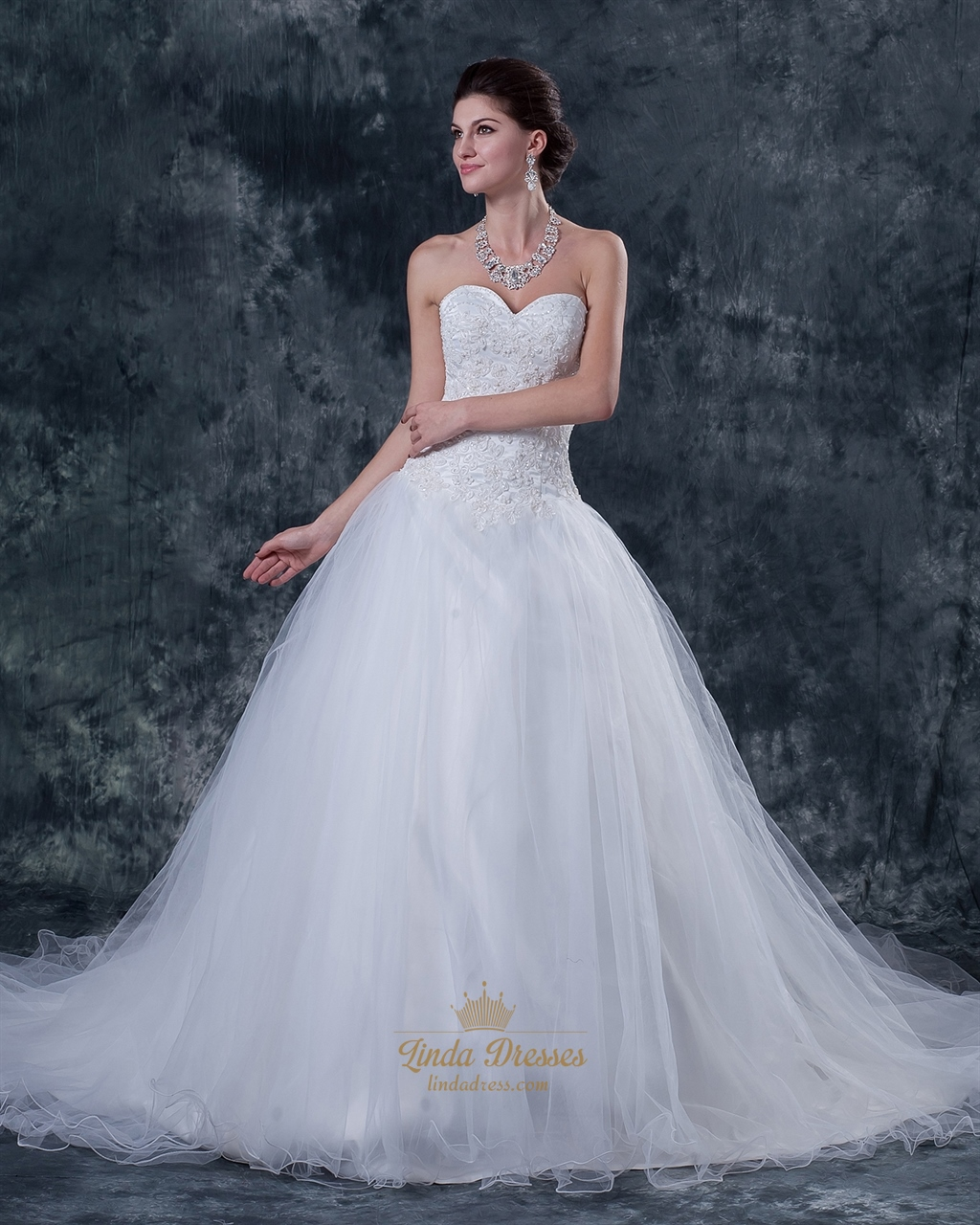 Ivory sweetheart strapless tulle wedding gown with beaded for Tulle halter wedding dress