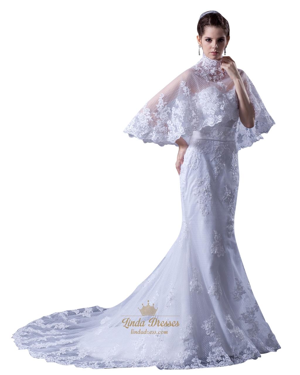 White Sweetheart Mermaid Beaded Appliques Wedding Dresses