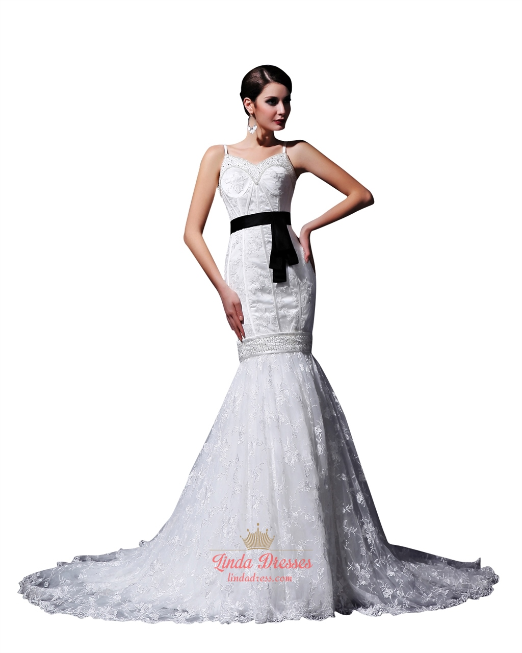 White Mermaid Beaded Spaghetti Strap Wedding Dresses With Black Sash