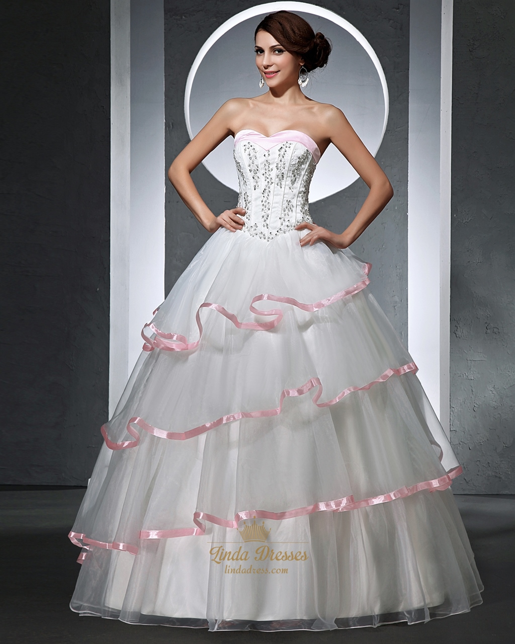 White and pink strapless corset wedding dresses with for White with pink wedding dresses