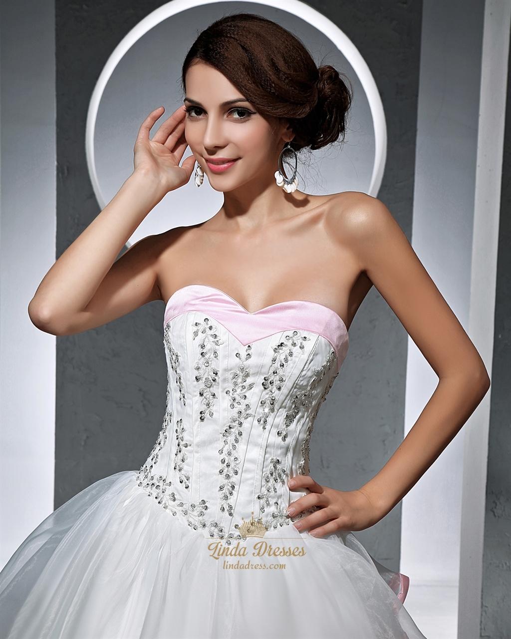 Pink Corset Wedding Dresses Bridesmaid Dresses Sleeves