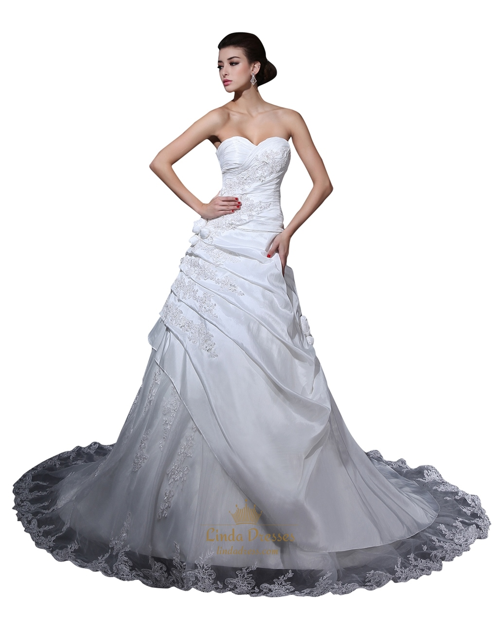 White taffeta sweetheart pick up wedding dress with floral for Pick up wedding dress