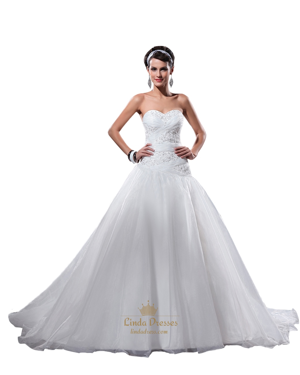 White Strapless Beaded Lace Applique Organza Wedding Dress Corset ...