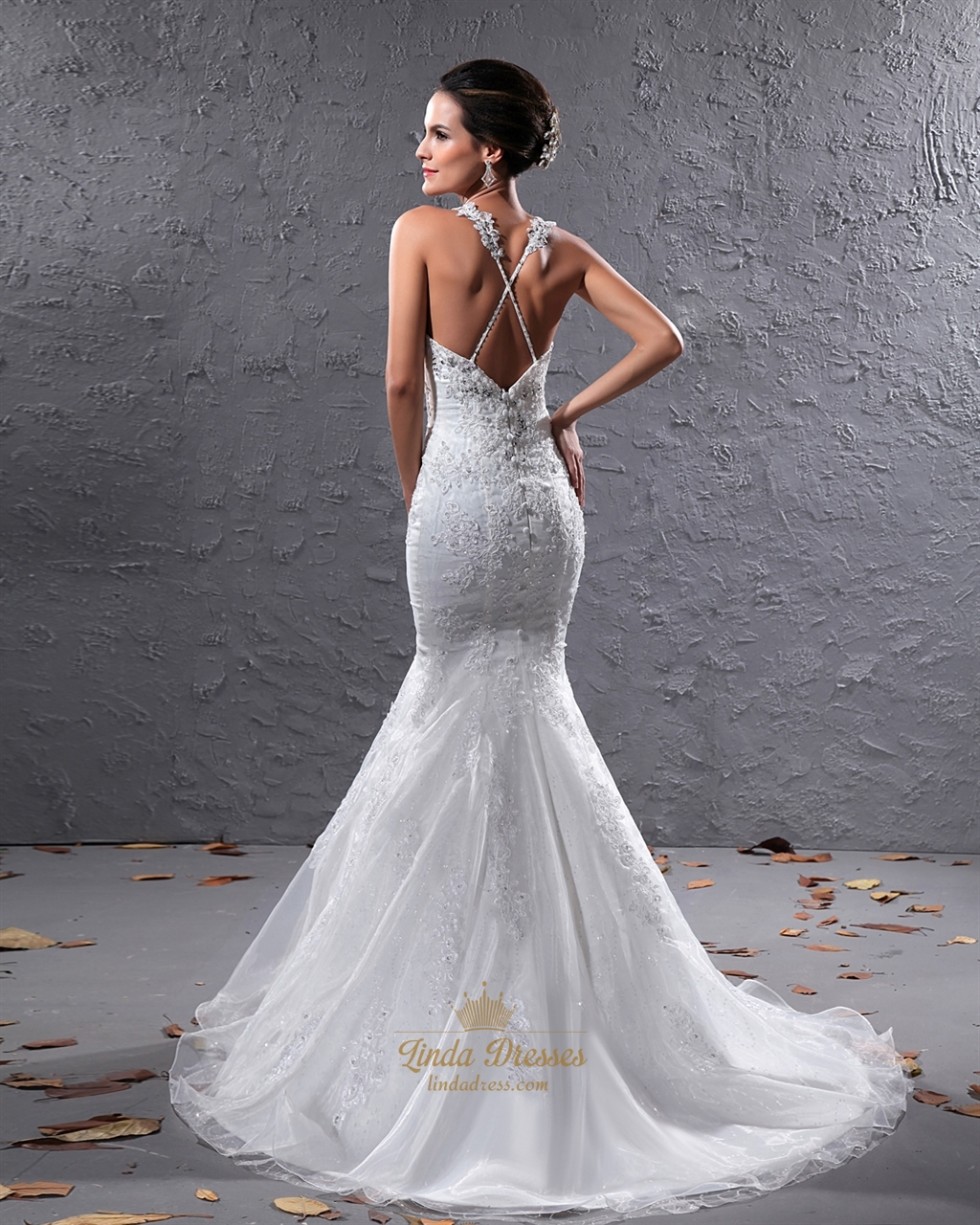 Ivory Organza Beaded Applique Mermaid Wedding Dress With