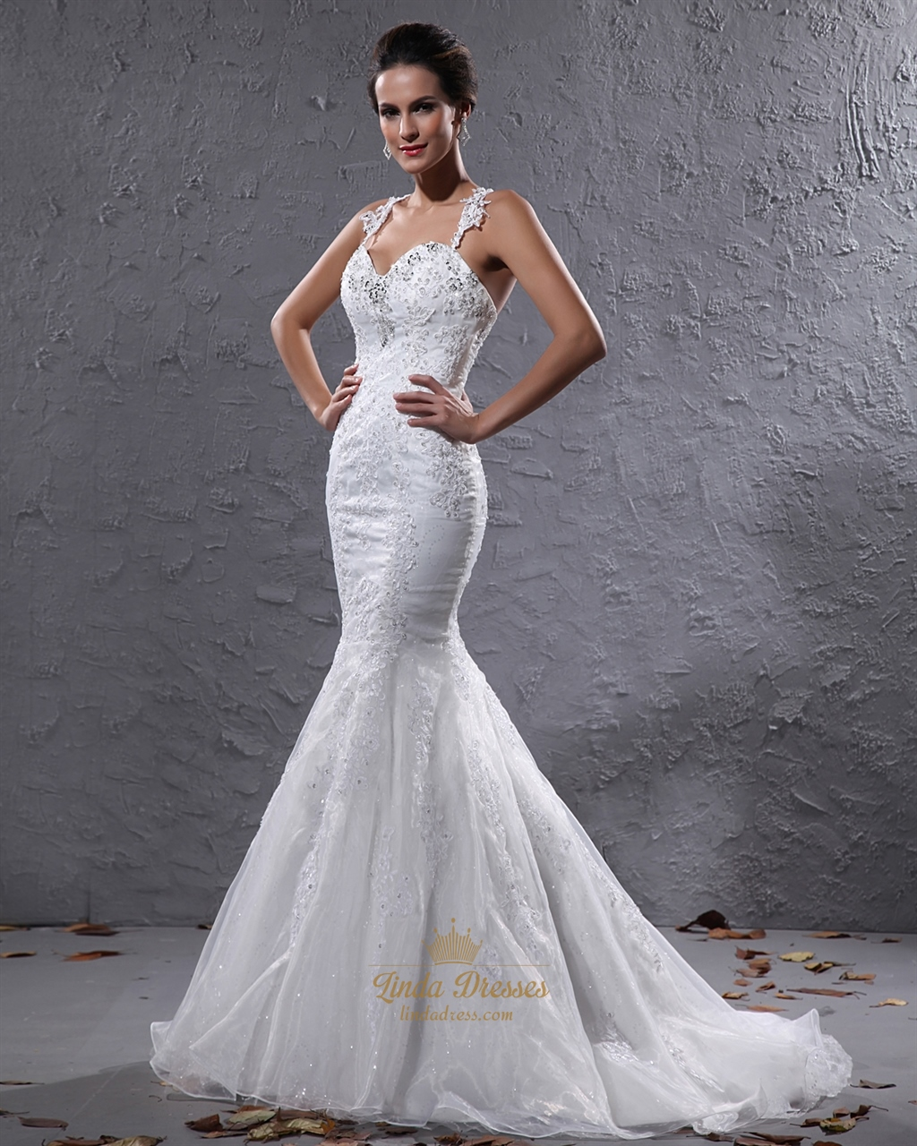 Ivory organza beaded applique mermaid wedding dress with for Ivory beaded wedding dress