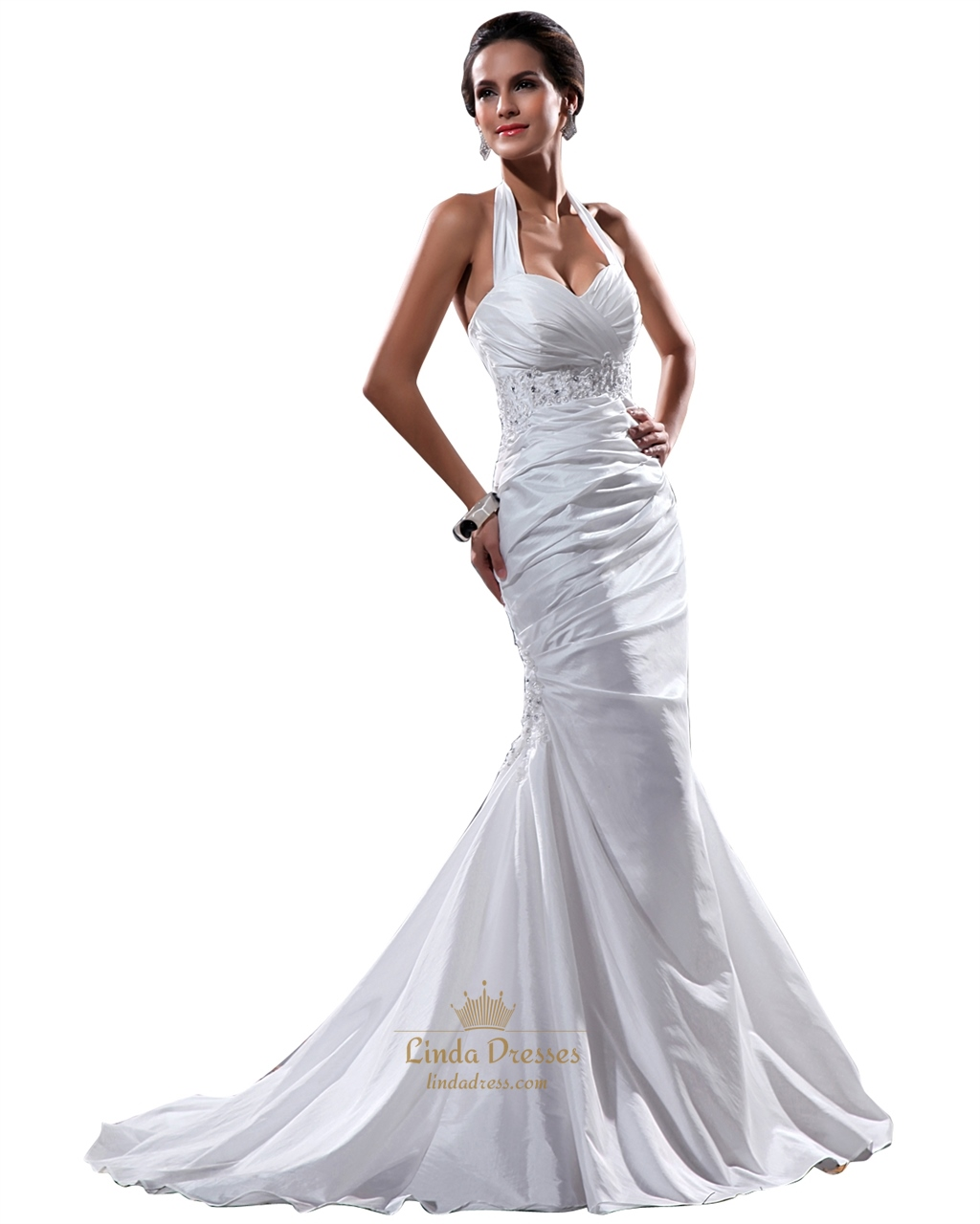 White Halter Neck Taffeta Mermaid Wedding Dress With Beaded Waistband