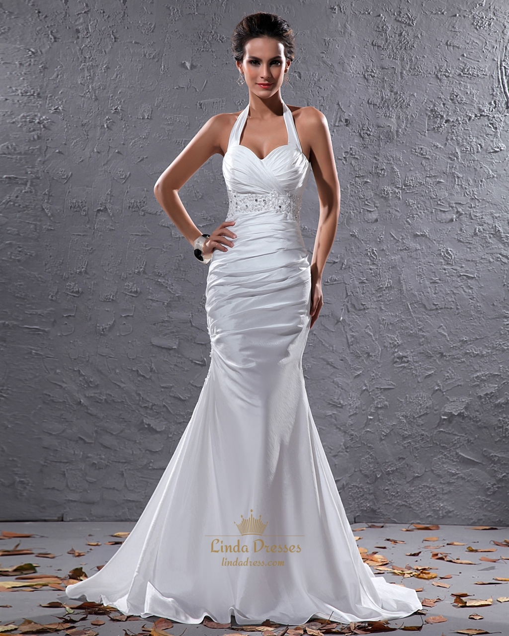White halter neck taffeta mermaid wedding dress with beaded waistband linda dress for Mermaid halter wedding dresses