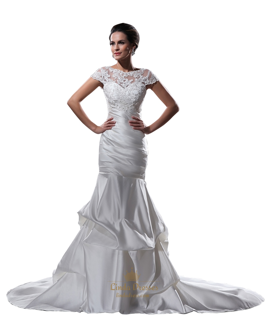 Ivory mermaid cap sleeves pickups wedding dresses with for Design your own wedding dress app