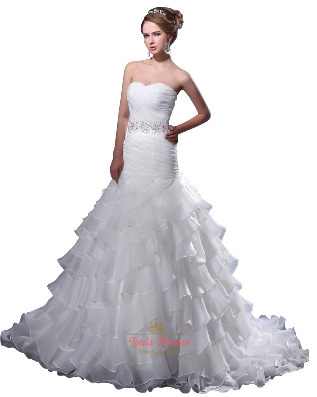 White sweetheart organza ruffles wedding dress with beaded for Wedding dress with waistband