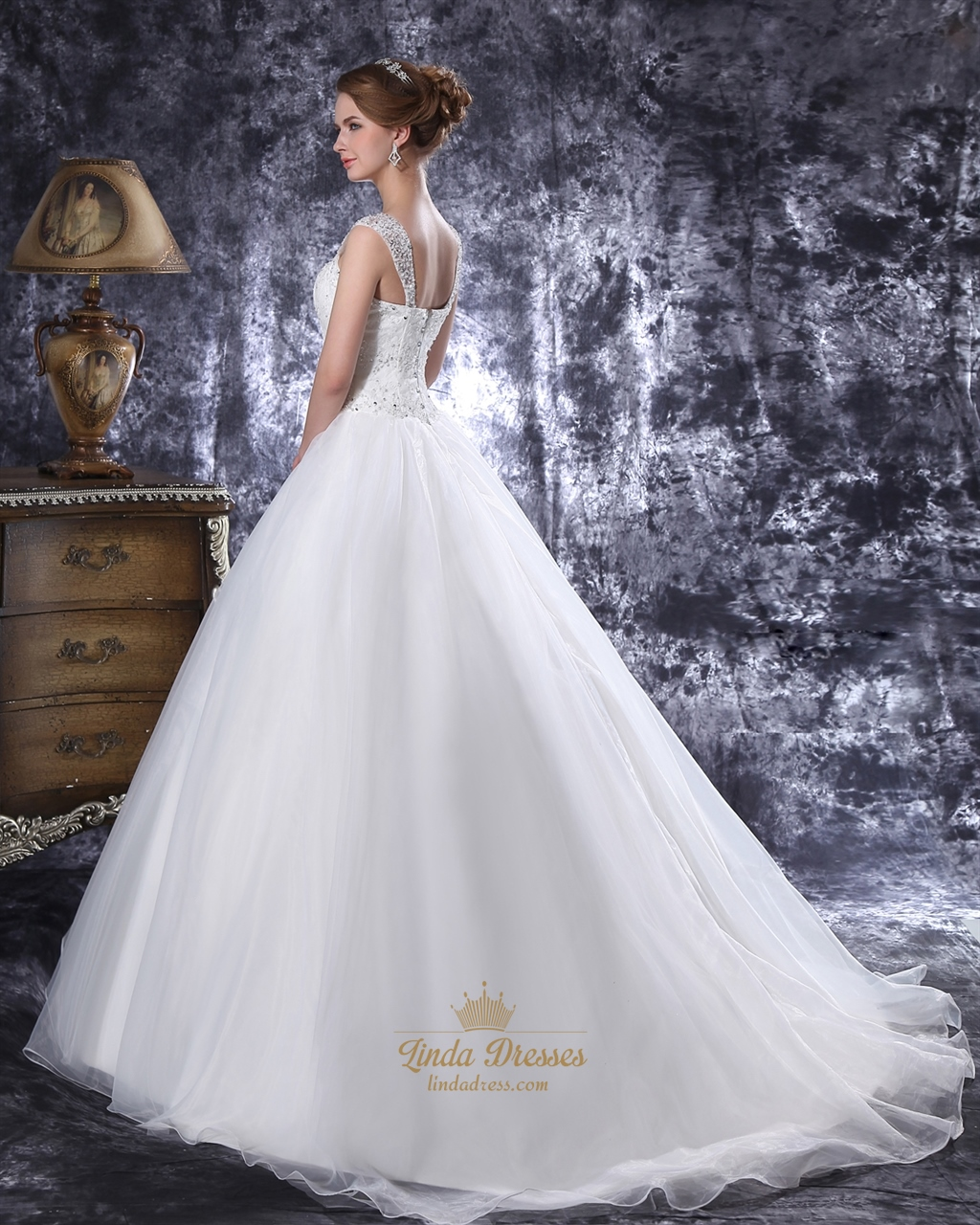 Ivory Lace Bodice Drop Waist Organza Wedding Dress With
