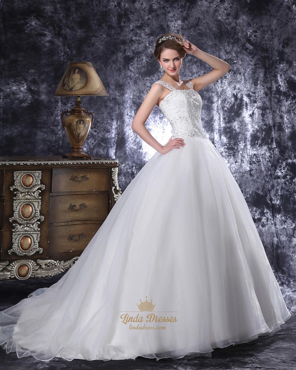 Drop Waist Ivory 2011 Wedding Dress With Jeweled Bodice: Ivory Lace Bodice Drop Waist Organza Wedding Dress With