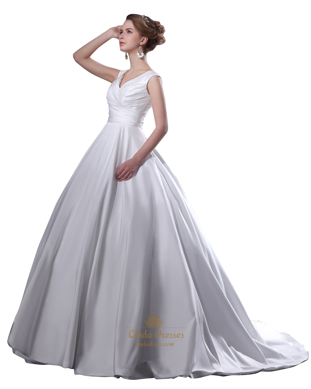 Beautiful White V Neck Ruched Bodice Princess Ball Gown