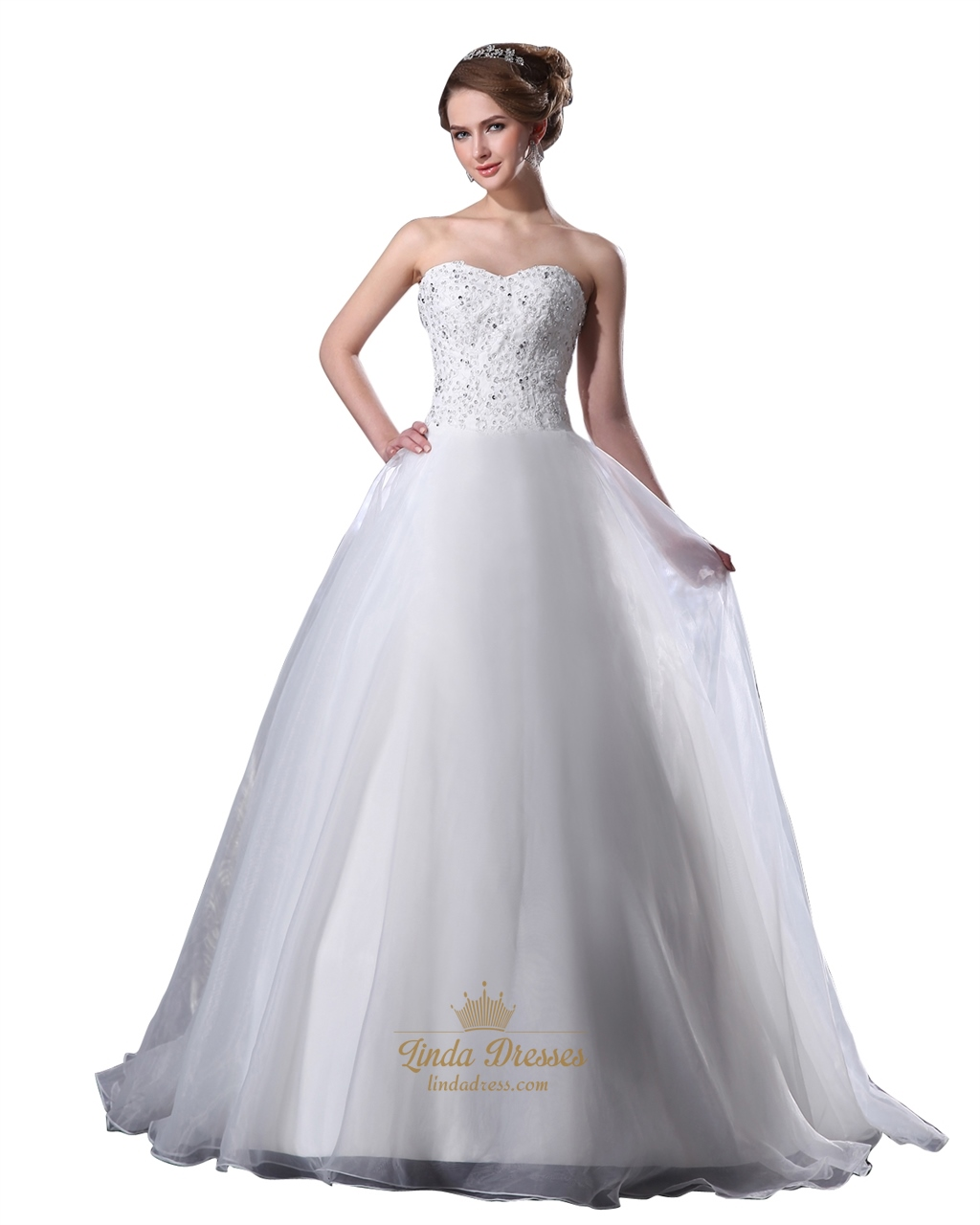 White Organza Sweetheart Strapless Beaded Bodice Aline