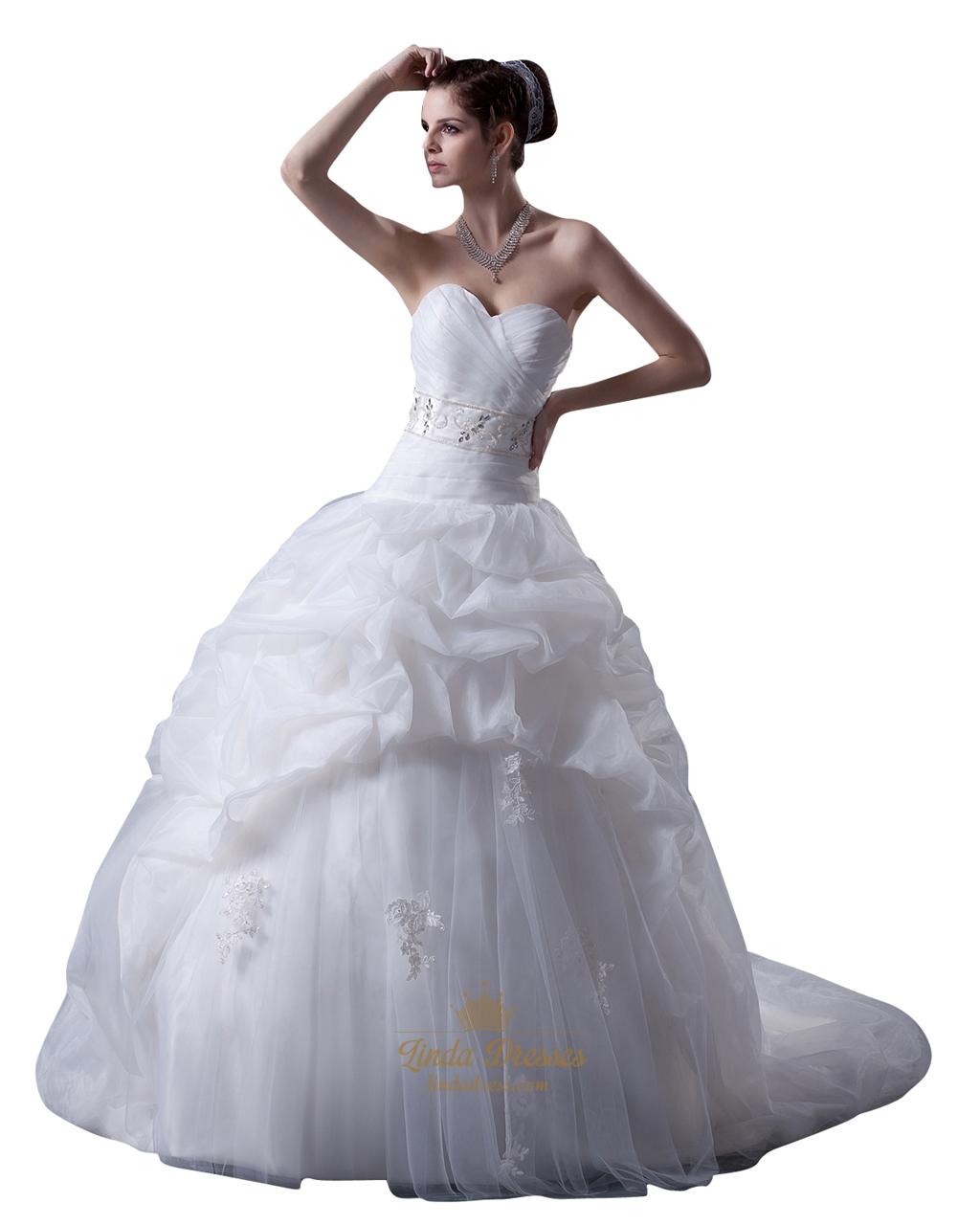 White Sweetheart Dropped Waist Applique Tulle Wedding Dress With ...
