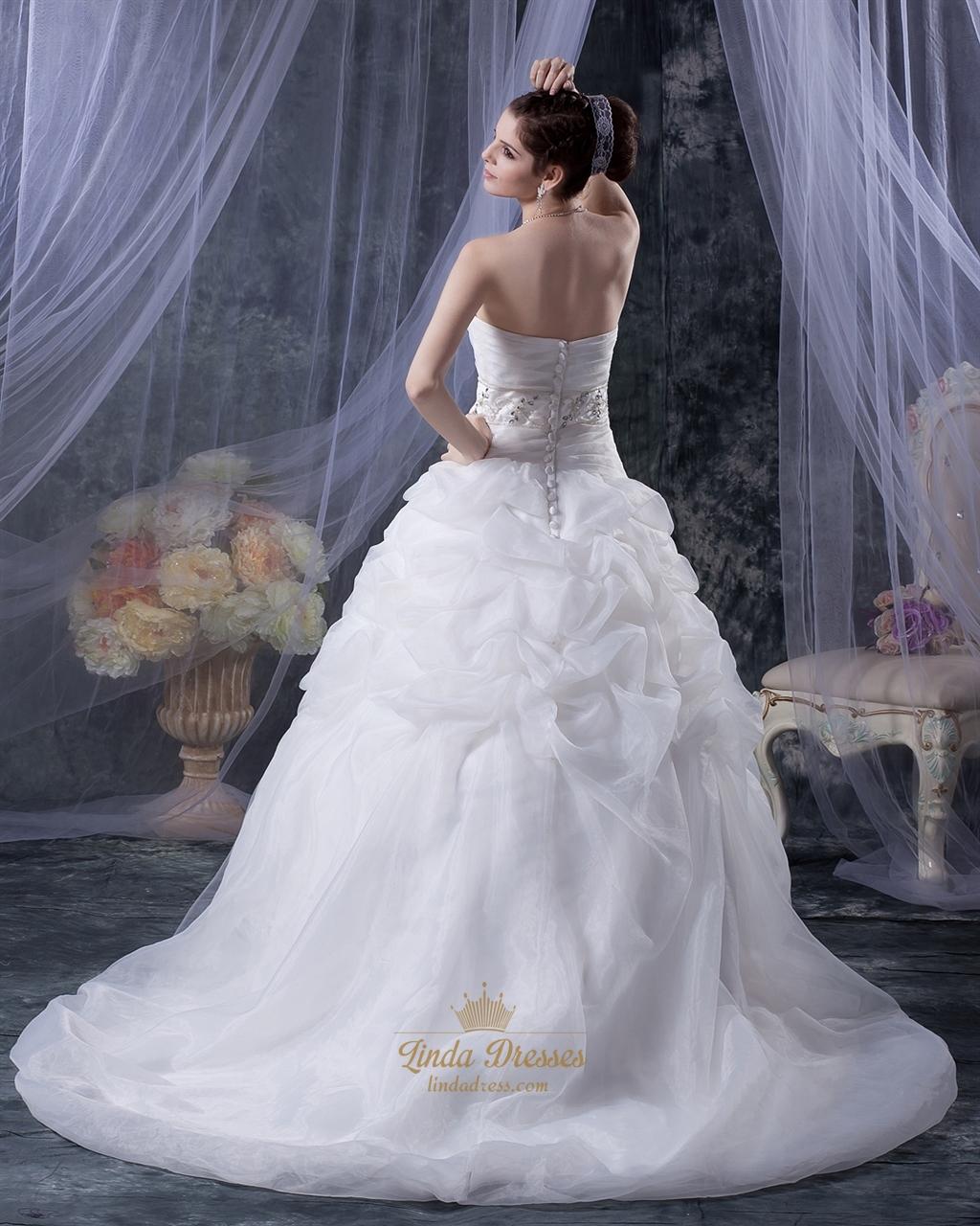 White Sweetheart Dropped Waist Applique Tulle Wedding