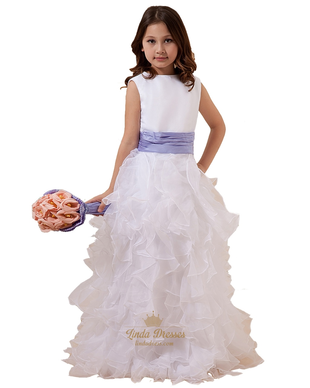 White flower girl dress with purple sash linda dress white organza ruffled skirt flower girl dress with purple sash mightylinksfo