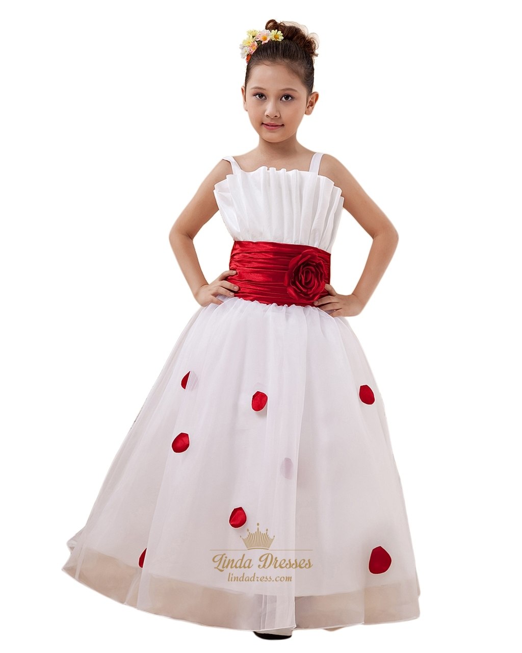 White flower girl dress with red sash linda dress white organza spaghetti straps flower girl dress with red petals mightylinksfo