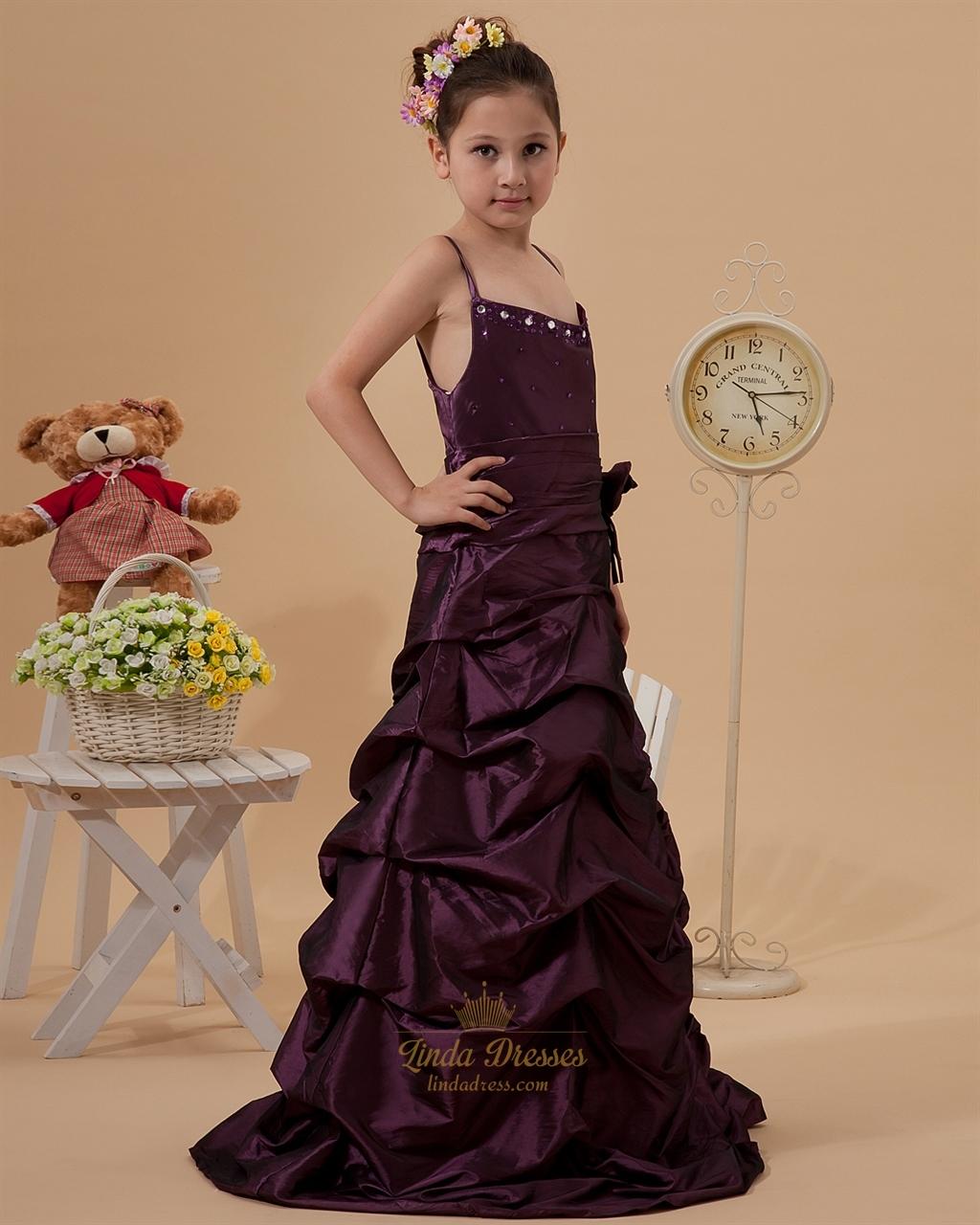 e057823bf Grape Taffeta Spaghetti Strap Pick Up Flower Girl Dresses With ...