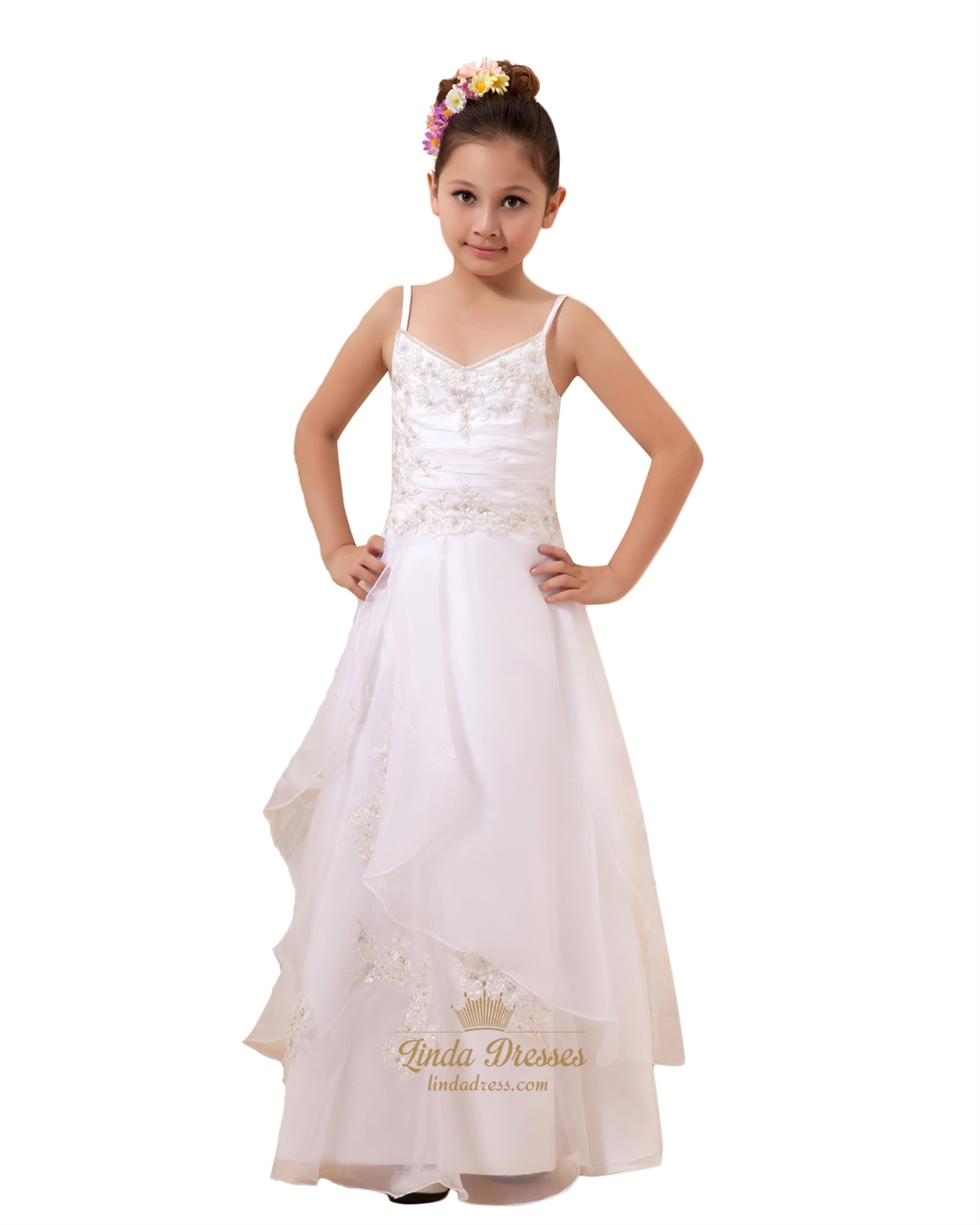 Flower girl dresses linda dress white spaghetti strap lace applique flower girl dresses double layered izmirmasajfo