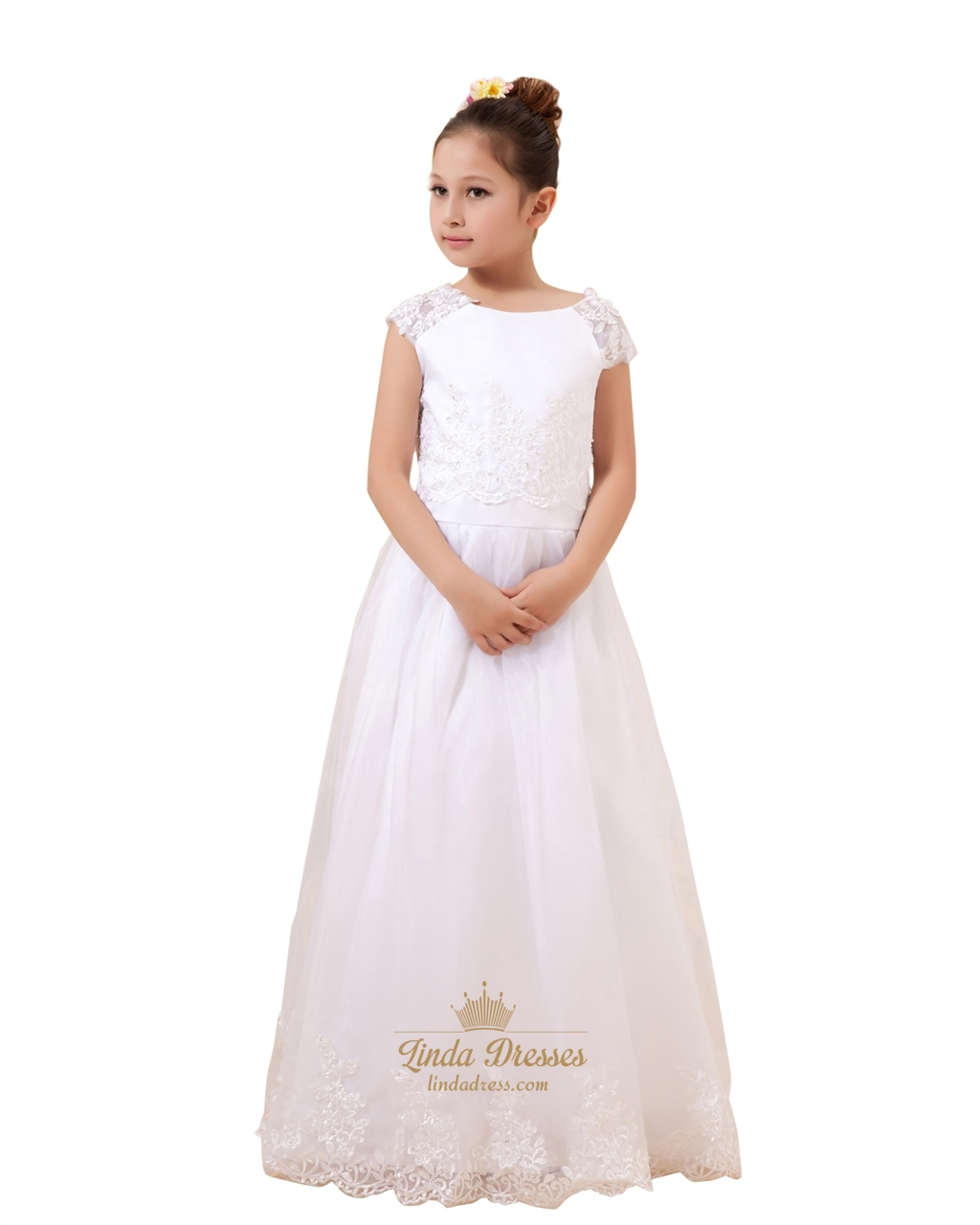 167a698a8c5 White Cap Sleeve Floor-Length Tulle Flower Girl Dress With Lace Bodice SKU  -W092