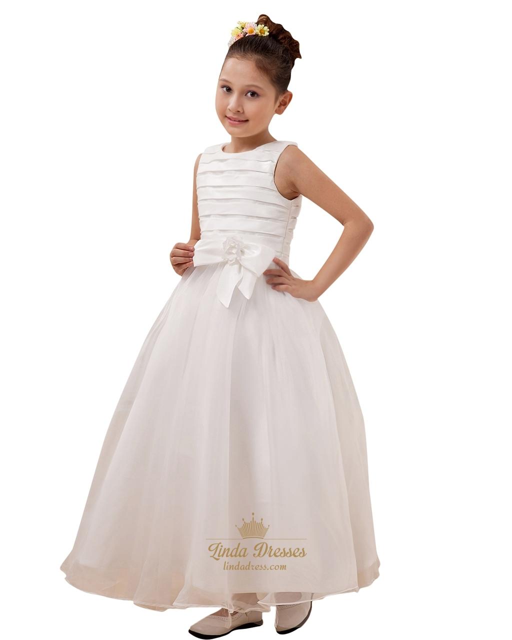 e1a80c878e1 Elegant White A-Line Scoop Organza Flower Girl Dress With Bow SKU -W098