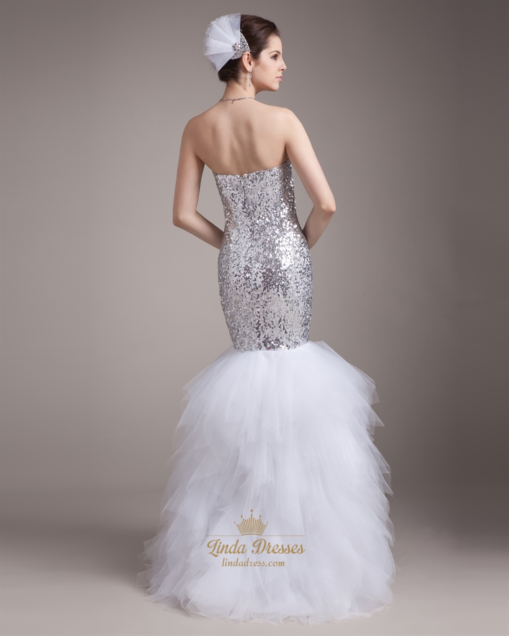 Silver And White Mermaid Sweetheart Sequin Bodice Prom