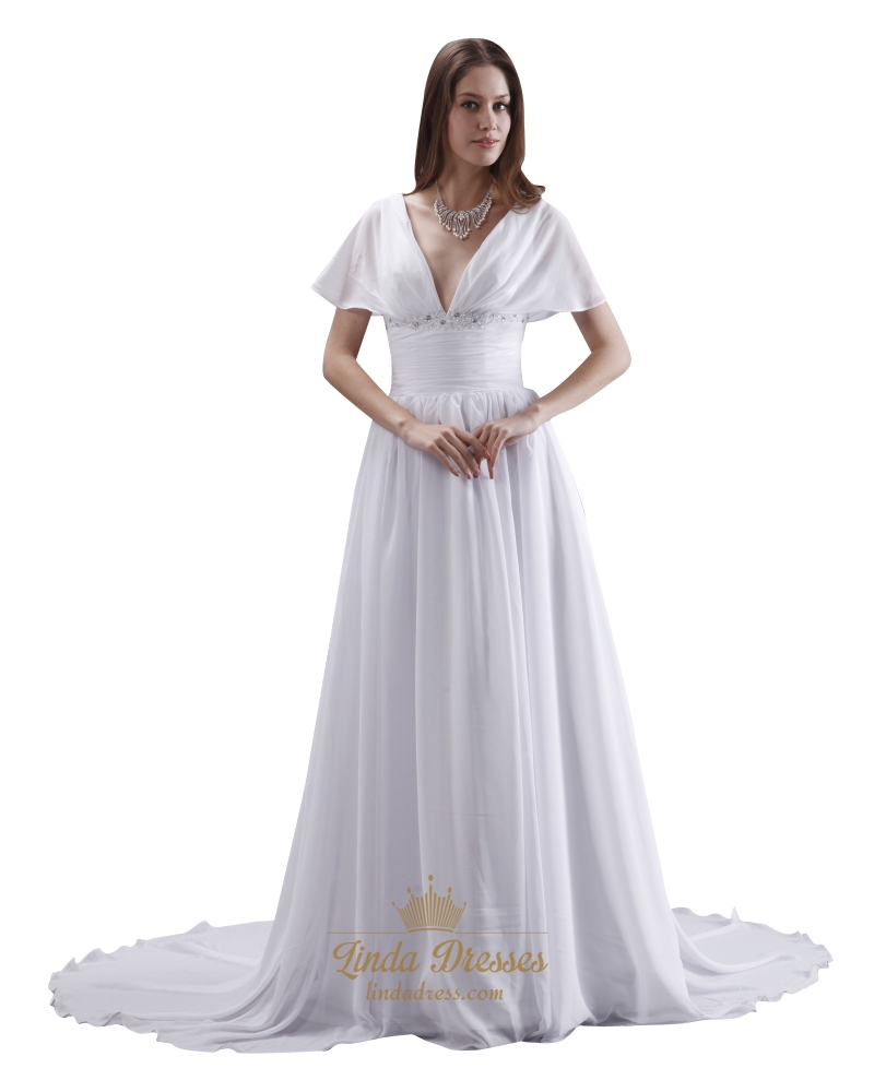 White A Line Deep V Neck Chiffon Wedding Dress With Flutter Sleeves