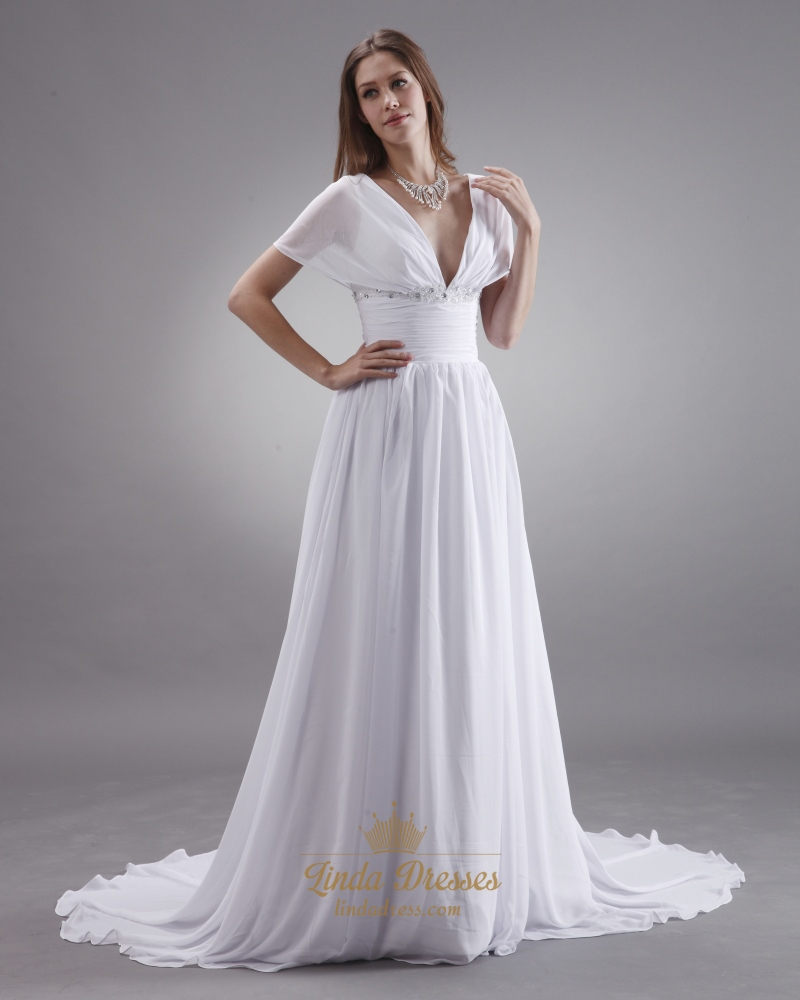 White A Line Deep V Neck Chiffon Wedding Dress With