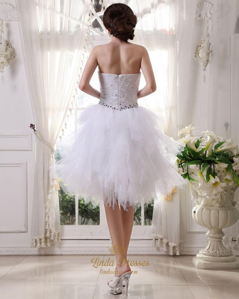 White strapless short beaded applique tulle ruffle skirt for Short beaded wedding dress