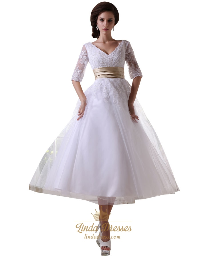 White tea length half sleeves tulle wedding dress with for Champagne tea length wedding dresses