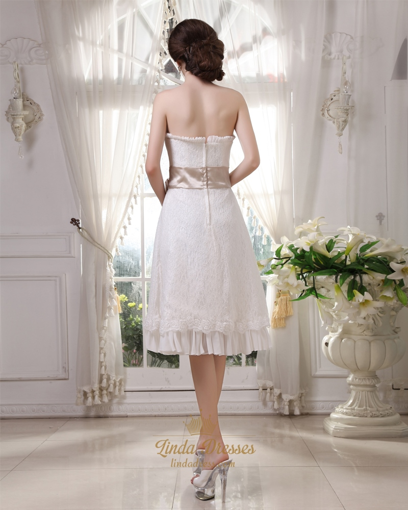 Ivory strapless lace tea length wedding dress with for Ivory wedding dress belt