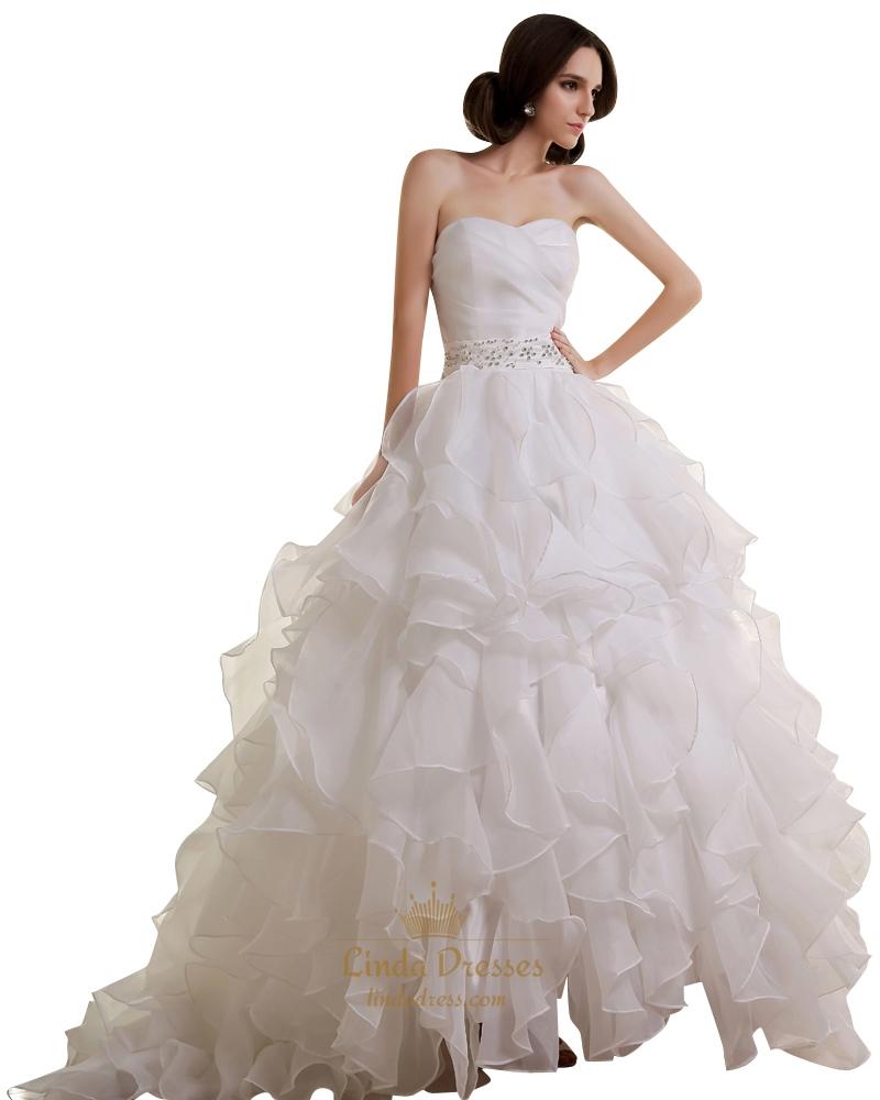 Ivory a line sweetheart ruffled organza wedding dress with for A line ivory wedding dress