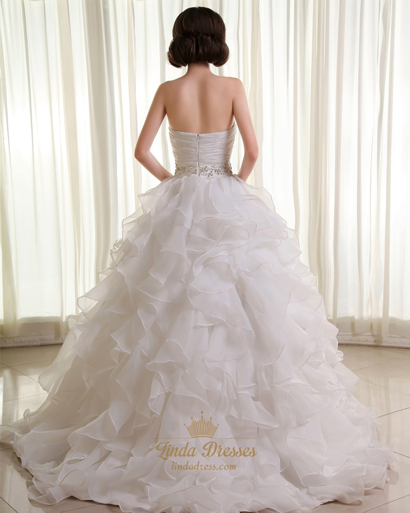 Ruffled Organza Skirt With Embroidered And Beaded Bodice: Ivory A-Line Sweetheart Ruffled Organza Wedding Dress With