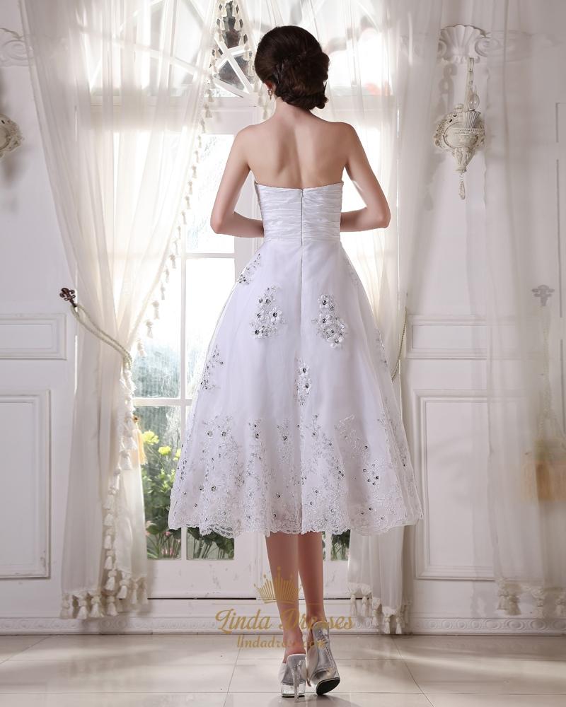 White sweetheart tea length tulle wedding dresses with for Sweetheart neckline tea length wedding dress