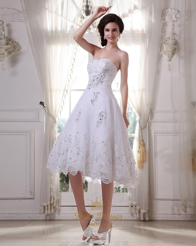 White sweetheart tea length tulle wedding dresses with for Sweetheart tea length wedding dress