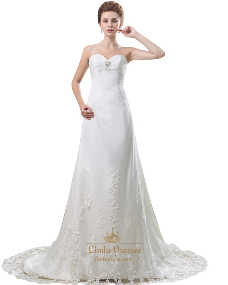 Ivory Strapless Sweetheart Empire Wedding Dress With Lace