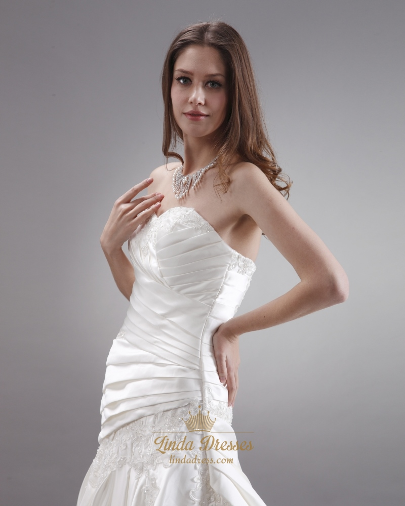 Ivory Strapless Neckline Ruched Wedding Dresses With Lace ...