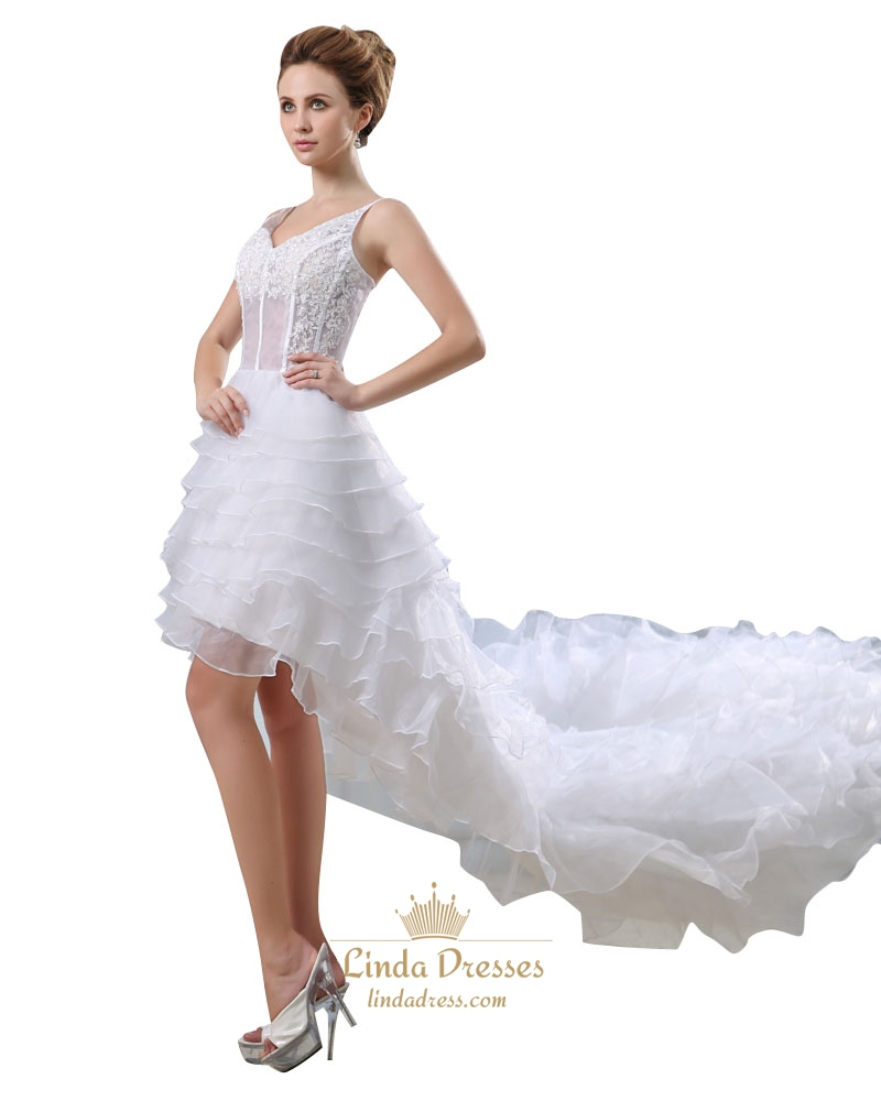 White Spaghetti Strap V Neck High Low Wedding Dress With Layered ...