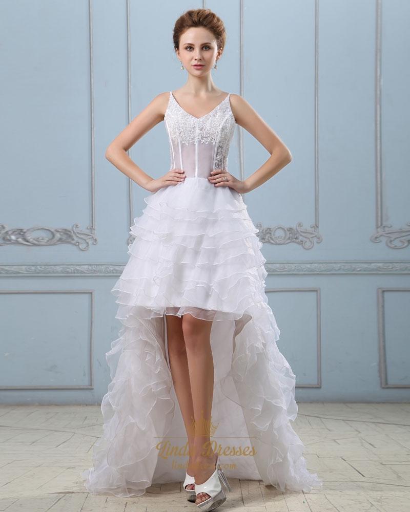 White spaghetti strap v neck high low wedding dress with for Spaghetti strap low back wedding dress
