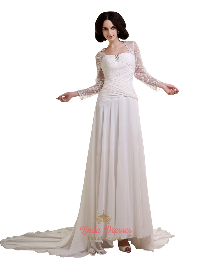 Ivory Chiffon Dropped Waist A Line Wedding Dress With Lace Sleeves ...