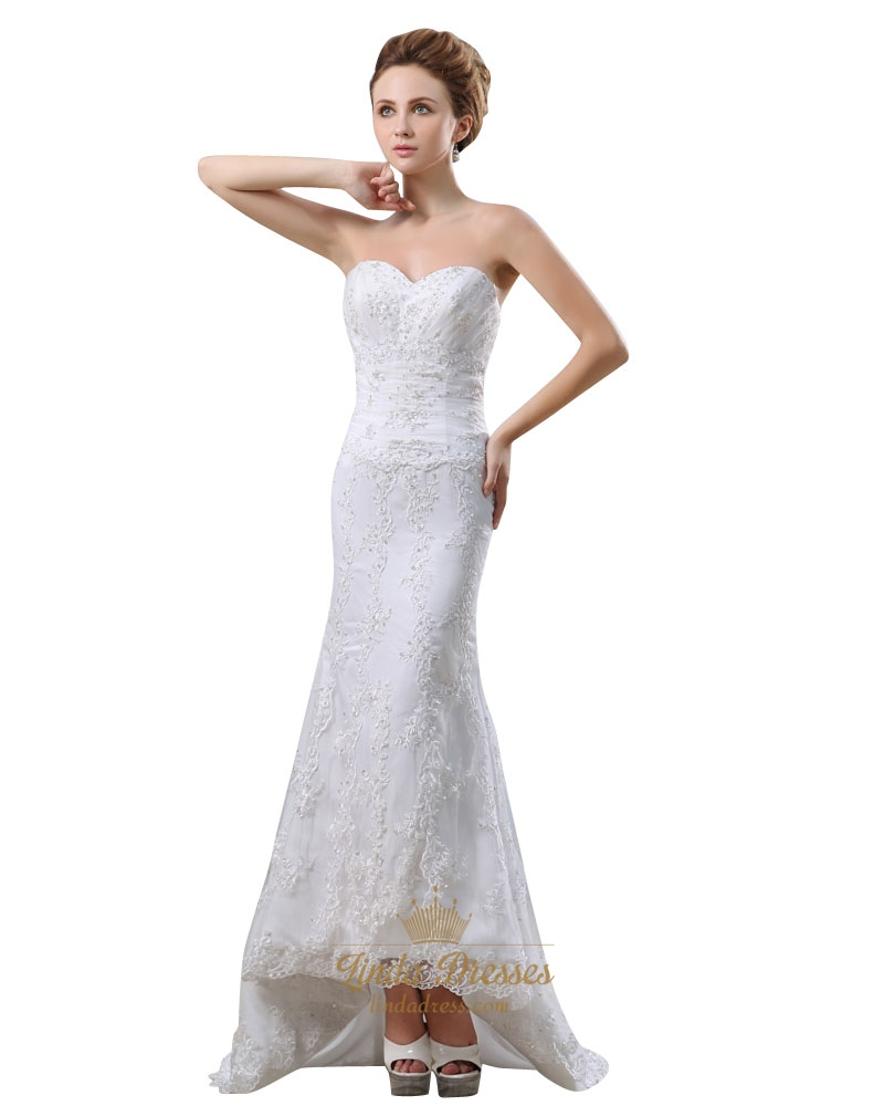 White sweetheart strapless lace mermaid wedding dress with for Wedding dresses with lace up back