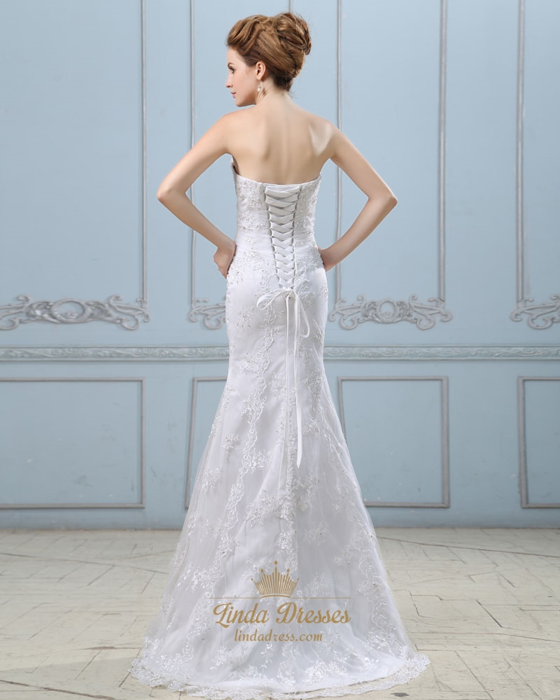 White sweetheart strapless lace mermaid wedding dress with for Wedding dresses lace up back