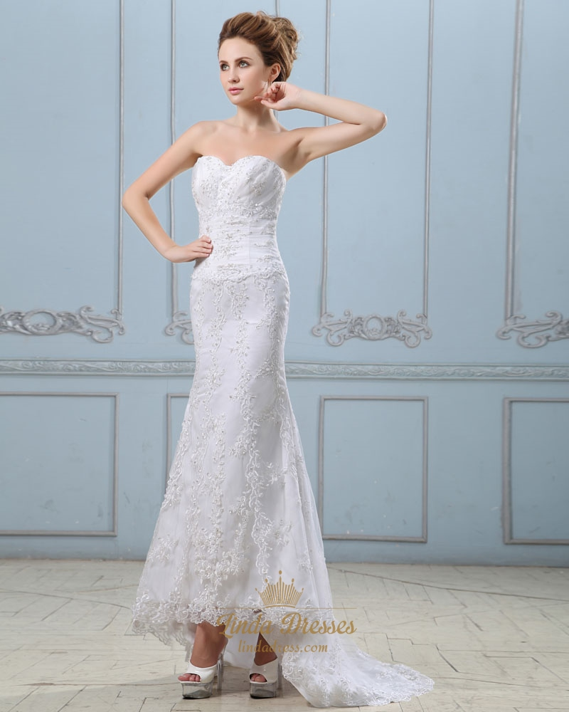 White sweetheart strapless lace mermaid wedding dress with for Sweetheart halter wedding dress