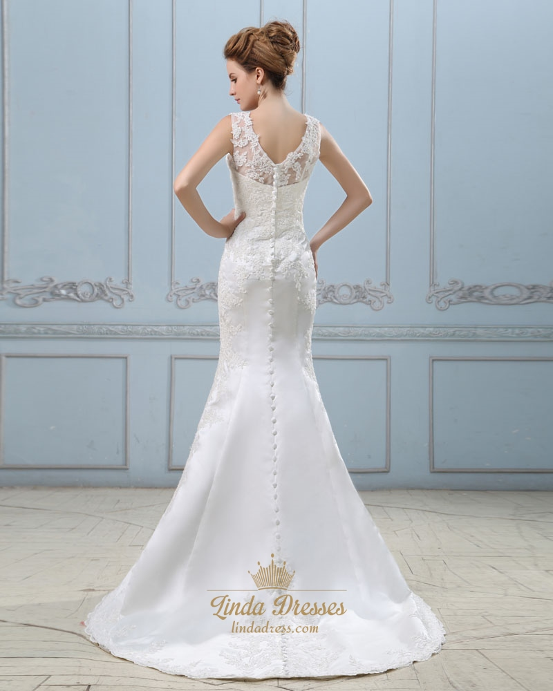 Mermaid Wedding Dress Petite: Ivory Lace Appliques Mermaid Wedding Dresses For Petite