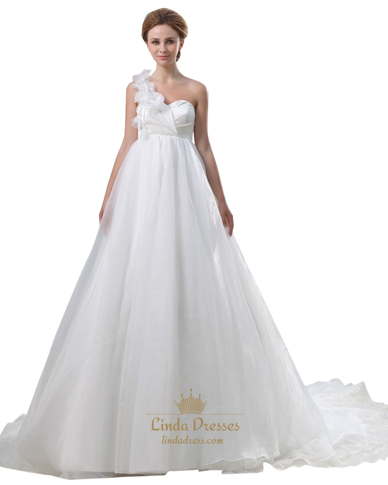 Ivory organza one shoulder flower strap a line empire for A line ivory wedding dress