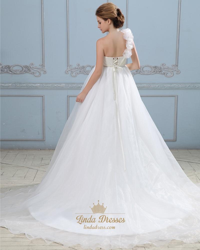 Ivory organza one shoulder flower strap a line empire for Wedding dresses one strap
