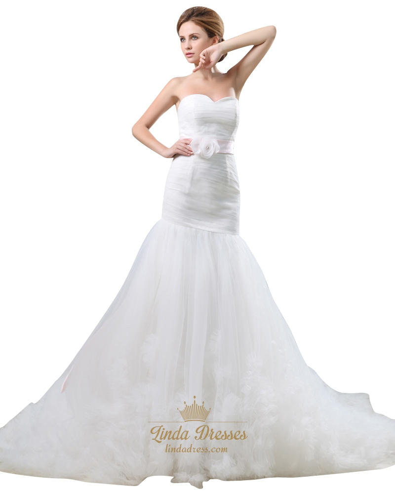 Ivory mermaid strapless ruffle skirt wedding dress with for Ivory wedding dress sash