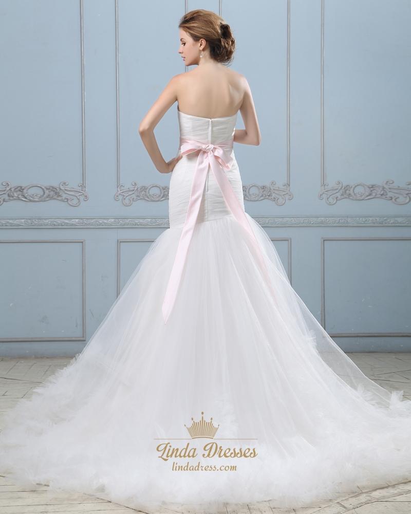 Ivory mermaid strapless ruffle skirt wedding dress with for Strapless wedding dress with ruffles